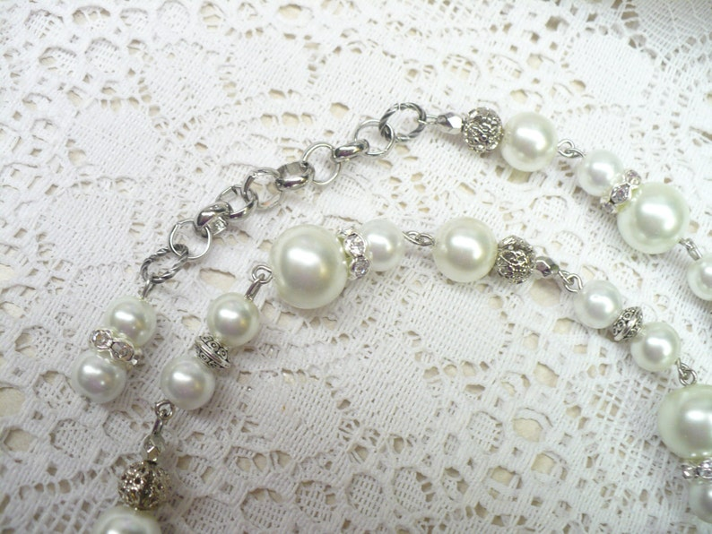 OOAK Vintage White PEARL Rhinestone Sarah Coventry Signed Necklace WEDDING piece white faux pearls Gift Bridesmaid-silver tone metal