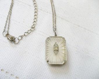 AUTHENTIC Art Deco Camphor Glass Pendant Necklace - silver tone metal -adjustable chain - GATSBY wedding - FLAPPER bridal - Bridesmaid gift