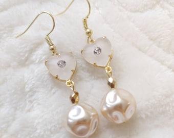 Unique HEART Shaped Art Deco Camphor Glass and Ivory Baroque Pearl Earrings-Heart shaped glass-rhinestone-hook ear wire-gold tone metal