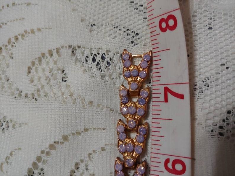 rose gold tone Bracelet with pinkpurple opalescent rhinestones-BRIDESMAID gifts-one Gorgeous Vintage Art Deco Copper tone pot metal 1