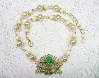 OOAK Vintage Authentic 1920s Gold Gilt Green RHINESTONE Art Deco Baroque PEARL Necklace -Irish wedding -Ivory faux pearl -Gatsby- adjustable