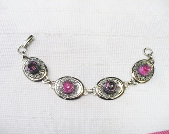 OOAK Handmade Pink Vitrail Color Beaded Bracelet - silver tone metal  - pink vintage rhinestone centers - petite wrist - Bridal wedding gift