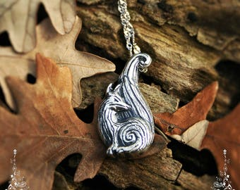 Sterling silver spiritual totem fox with spiral necklace - Handmade silver medieval pendant
