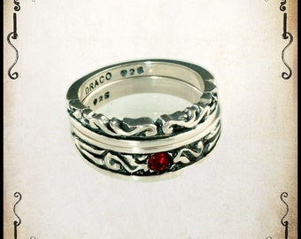 Iseult Duo Medieval wedding ring - Sterling silver 925