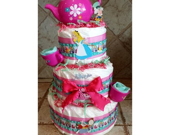 Pink & Teal Alice in Wonderland Mad Hatter Tea Party Diaper Cake for Baby Girl Shower