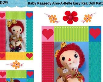 """Easy Cloth Rag Doll PDF Pattern Baby Raggedy Ann 15"""" Rag Doll Pattern- Easy Beginner PDF Sewing Patterns by Peekaboo Porch"""