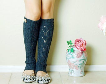 Gift for her!Charcoal Leg Warmers,Cute Brithday gift for her. leg warmers with cute lace ,boots long cuffs, gift for her