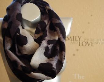 Modern Wool scarf,Black with gray leopard infinity Scarf ,Very Popular leopard print Scarf ,cute infinity Scarf scarf ,Handmade scarf