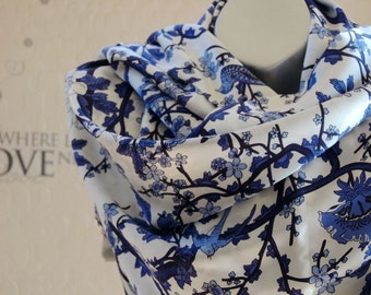 Mother's Day Gift for her !Double silk satin fabric scarf. handmade silk long scarf,blue print flower silk scarf, Birthday gift for her