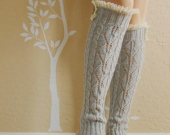 Beautiful lacy Gray leg warmers,leg warmers with cute lace,Christmas gift for her. boots long cuffs with cute Double lace,women Leg warmers,