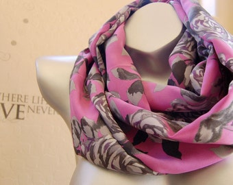 Birthday gift! Mother's day gift,Beautiful silk infinity scarf, Purple pink with gray flower print silk scarf ,  cute birthday gift  for her