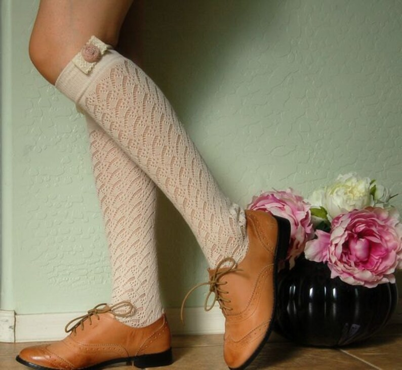 27508ba35 Beautiful Cream vintage style socks. boots socks.Cute lace