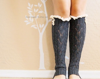 Beautiful lacy Charcoal leg warmers,Cute lace leg warmers,Birthday gift for her. boots long cuffs with cute Double lace,women Leg warmers,