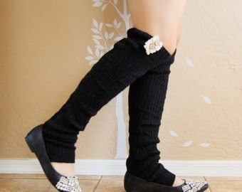 Black  Leg Warmers.Cute Christmas gift for her. Cashmere Wool Le warmers with cute lace ,boots long cuffs, gift for her