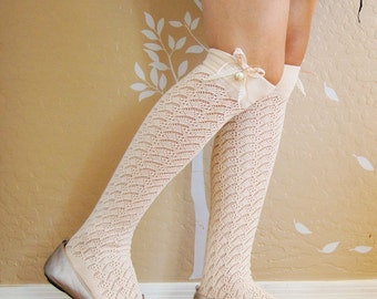 Beautiful Vintage style cream long socks, cute lacy boots socks.birthday Gift for her.lacy socks,Christmas gift for her