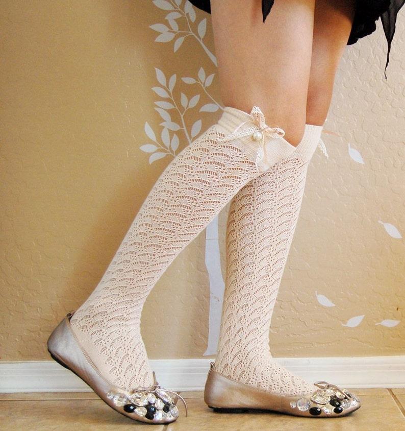 04ea17d0d On saleBeautiful Vintage style cream long socks cute lacy