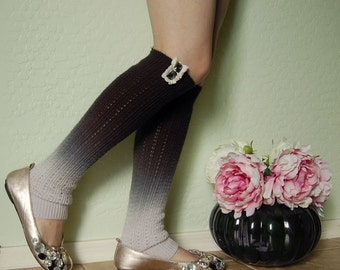 Beautiful Black with gray Leg Warmers. Soft  leg Warmers with white lace,Cute  boots socks,long boots cuffs