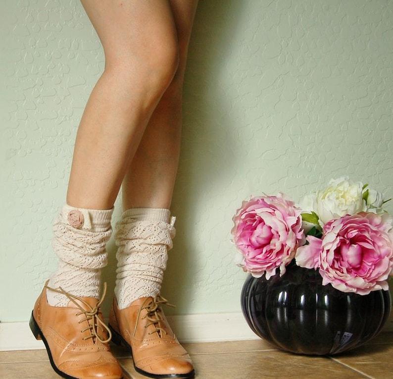 b105a2bff36 Beautiful Cream vintage style socks. boots socks.Cute lace