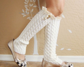 Christmas gift for her,Beautiful Lace Leg Warmers, Ivory white leg warmer with cute cotton lace. leg warmers,boots long cuffs.Birthday gift