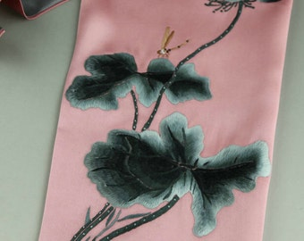 Gift for her!soft pink with gray Double silk satin fabric, Beautiful 100% silk scarf,hand-embroidered silk scarf, silk scarf