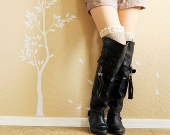 On SALE!Beautiful lacy Leg warmers.Khaki and Charcoal  boots socks with lace,cute birthday gift for her. Charcoal  long socks for high boots