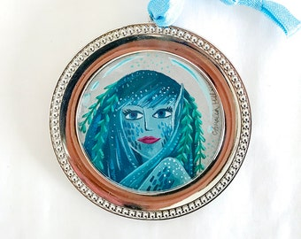 Circular Mermaid Bubble Portraits Trio Original Gouache Illustration #1 - Teal Green - Framed