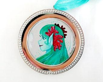 Circular Mermaid Bubble Portraits Trio Original Gouache Illustration #2 - Emerald Green - Framed