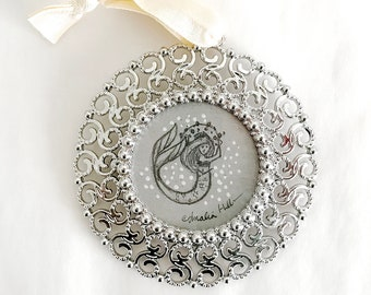 Circular Mermaid with Sea Urchin Quartet Original Graphite and Gouache Illustration #4 - High Fashion Hat - Framed