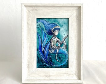 Fairytale-Inspired Mermaid Trio Original Watercolor Illustration #2 - Donkeyskin Sky Dress - Framed