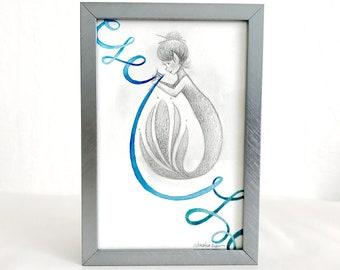 Artisan Mermaids Duo Original Graphite and Watercolor Illustration #1 - Knitter - Framed