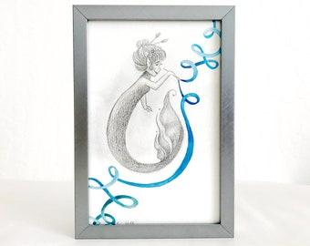 Artisan Mermaids Duo Original Graphite and Watercolor Illustration #2 - Painter - Framed