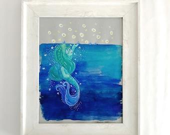 Mermaid Watching the Velella Jellyfish Original Gouache Illustration