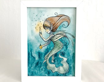 Fairytale-Inspired Mermaid Trio Original Watercolor Illustration #1 - East of the Sun West of the Moon - Framed