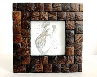 Gold and Iridescent Mermaid Trio Original Graphite and Acrylic Illustration #2 - Cloudy Periwinkle Shell - Framed