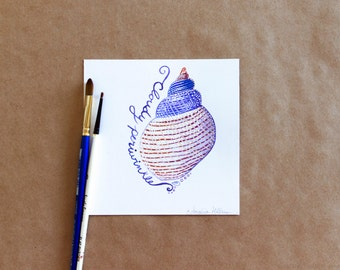"""Original Gouache Cloudy Periwinkle Seashell Miniature Painting on Bristol Board - """"31 Days of Seashells"""" Collection"""