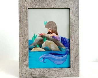 Violet Mermaid with Red Crab Friend Original Gouache Illustration - Framed