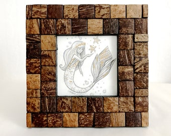 Gold and Iridescent Mermaid Trio Original Graphite and Acrylic Illustration #3 - Chocolate-Lined Top Shell - Framed