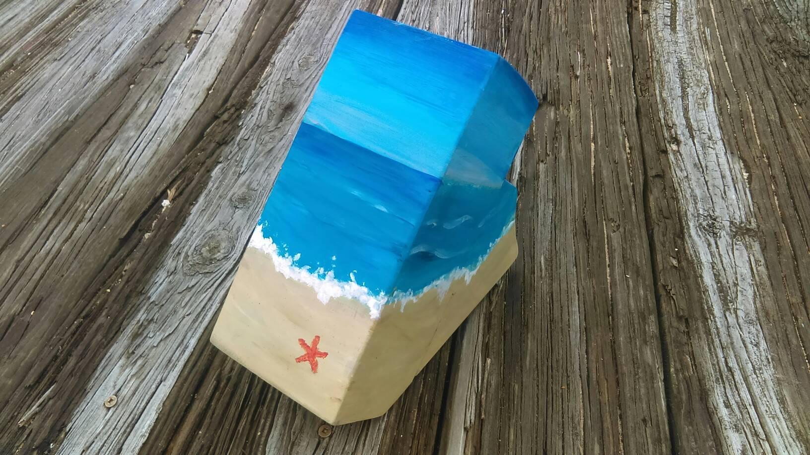 Beach scene knife block, Nautical knife block, aqua wooden knife ...
