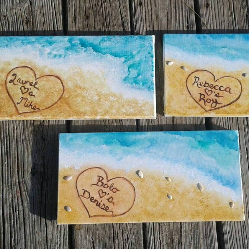 Names In The Sand, Custom Personalized Painting Of Beach, Custom Beach  Painting, Personalized Gift Ideas, Beach Home Decor,