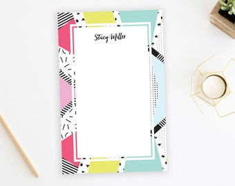 Personalized Notepad. Personalized Note Pad. Family Notepad. 80s Style. Personalized Stationery. Stationary. Gift. Custom. Memphis. 80's.