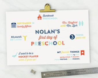 First Day of School Sign. Back to School Sign. First Day of School Printable. Infographic School Sign. School Photo Prop. Personalized.