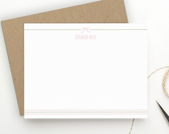 Personalized Stationery. Personalized Stationary. Personalized Note Cards. Personalized Stationery for Kids. Baby Girl Thank You Notes. Bow.