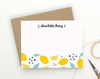 Personalized Stationery. Personalized Notecard Set. Personalized Stationary. Note Cards. Personalized. Personalized Gift. Summer. Lemons.