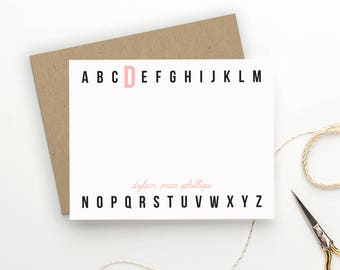 Personalized Stationery for Kids. Thank You Notes for Children. Girl or Boy Stationery. Stationary. Modern Kids. Modern. Alphabet. ABC.