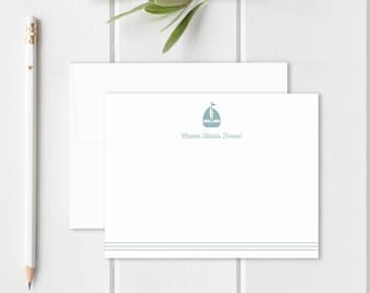 Personalized Stationery for Kids. Thank You Notes for Children. Baby Boy or Baby Girl Note Cards. Stationary. Custom Notecards. Sailboat