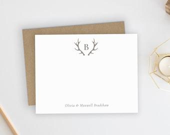 Wedding Thank You Cards. Personalized Wedding Stationery. Newlyweds. Gift. Wedding Shower. Thank You Cards. Monogram. Couples. Antlers.