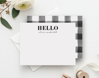 'Hello' Buffalo Check Personalized Stationery
