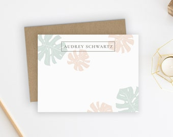 Personalized Stationery. Personalized Notecard Set. Personalized Stationary. Note Cards. Personalized. Personalized Gift. Palm Leaf.