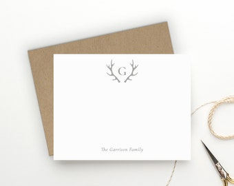 Personalized Stationery. Personalized Notecard Set. Family Stationary. Family Thank You Cards. Thank You Notes. Monogram. Rustic. Antlers.