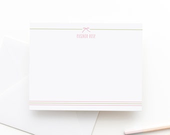 Baby Girl Thank You Notes | Bow Stationery | Personalized Stationery | Personalized Note Cards | Personalized Stationery for Kids | Bow
